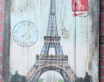 Vintage Style Eiffel Tower Paris Reclaimed Wood Decor