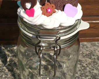 Glass jar with sealed-Fimo decoration cookies