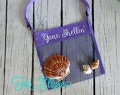 PURPLE Personalized Seashell bag - mesh beach tote