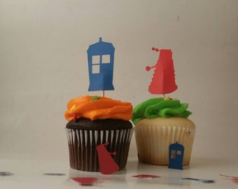 Dr who cupcake topper, Dr who decorations, tardis cake topper, Dr who party, tardis decoration