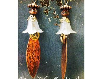White Lilly Copper Drop Dangle Earrings OOAK handcrafted jewelry