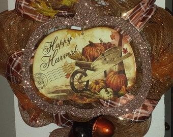 Happy Harvest Mesh Wreath