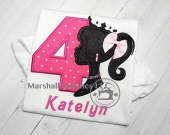 Barbie Birthday Applique Shirt/ Barbie Birthday Outfit/ Barbie Party Shirt/ Barbie Silhouette Birthday Shirt/Princess Barbie Birthday Shirt