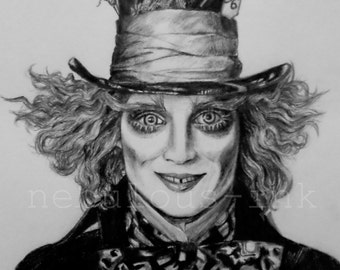 Mad Hatter Poster. was Hand-drawn.