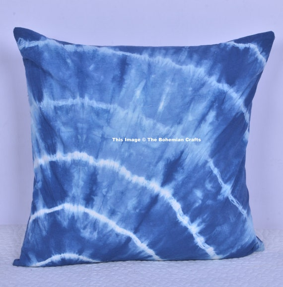 Indian Hand Dyed Tie Dye Cushion Cover Indigo By