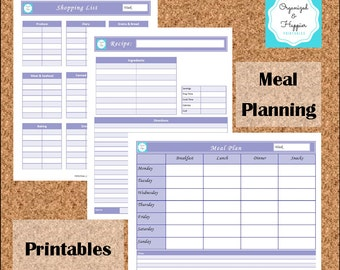 Meal Planning Printables Shopping List Recipe Meal Planner Weekly