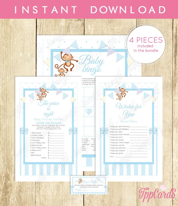 Instant Download Sock Blue Monkey Theme Baby Shower By