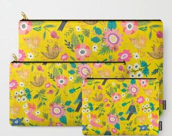 Yellow Coin Purse, Coin Pouch, Large Zipper Pouch, Zipper Bag, Pencil Case, Yellow Bag, Gift for Kids (SKU: AAQ)