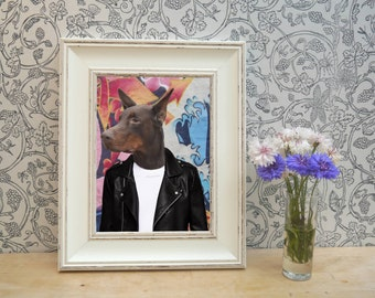 Graffiti Doberman Framed Pet Portrait Print
