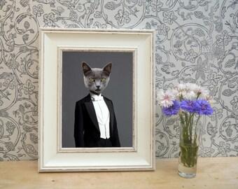 Grey Cat in Dinner Suit Framed Pet Portrait Print