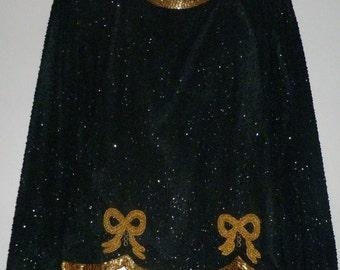 Vintage 1980's Beaded Silk Top Long Sleeves UK 12 - 14