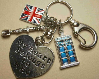 My HEART Belongs to WHO Blue Police Box Tardis Inspired Doctor's Sonic Screwdriver Flag Swivel KEYCHAIN Purse Zipper Pull Backpack Charm