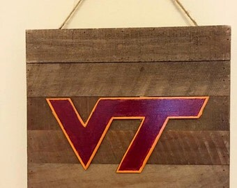 VT Virginia Tech Hokies rustic wood sign