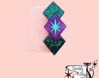 The triple diamond clear hair comb (custom colors)