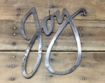 Rustic Metal Joy Sign