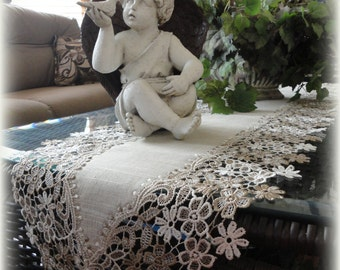 """65""""  Floral Lace Dresser Scarf Neutral Earth Tones Mantel Scarf Table Runner"""