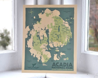 Acadia National Park Etsy - Acadia national park on the map of the us