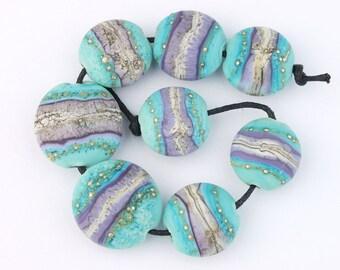 Destash Sale! Artisan Handmade Lampwork Glass Bead Set ~ Etched Silvered Lentils Turquoise and Purple