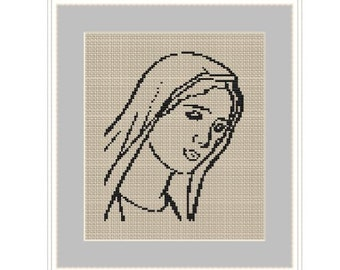 Virgin Mary. Mother Of God. Cross Stitch Pattern. PDF Chart. Easy Pattern. Instant Download.DIY. Bible. Icon.