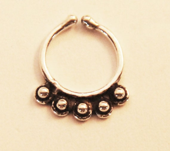 sterling silver septum ring for non pierced nose faux