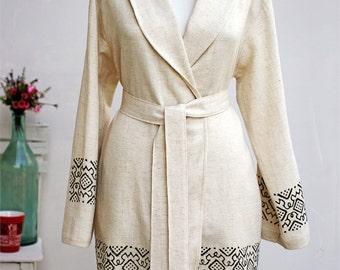 Block Print Linen Robe   %100 Cotton Turkish Peshtemal Bathrobe