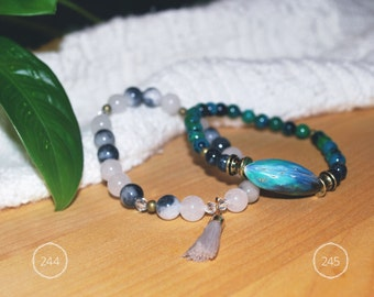Fossil gemstone, glass beads and shell beads bracelets