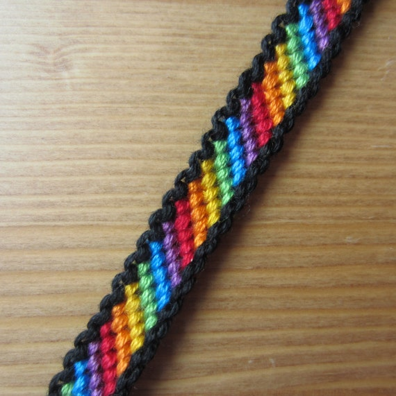 Bordered rainbow friendship bracelet for Unique crafts to sell on etsy