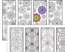 Coloring Bookmarks Page , 2 Flower coloring bookmarks Instant Download, Relax Mandala Designs to Color for Adults to Print and Color