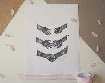 Hand Stamped A5 Print - 'Hold My Hand'