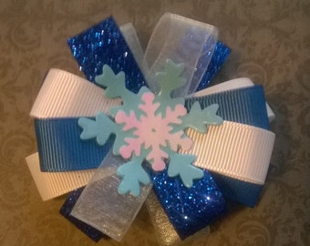 Frozen inspired snowflake bow
