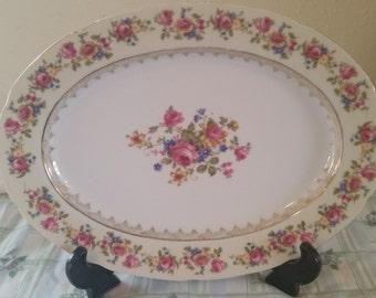 Gold castle platter/floral platter/vintage platter/ceramic platter/vintage ceramic platter/gold castle ceramics/12 inch platter