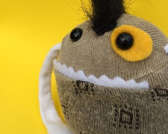 Sock Monster - Brown & White - One of a Kind