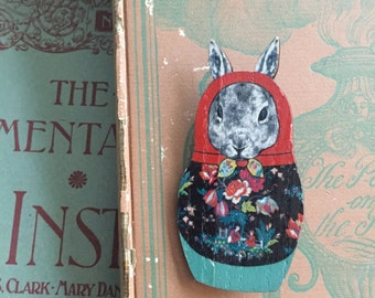 russian stacking doll rabbit brooch, gift for her
