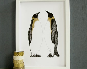 Penguins Print with Hand-Painted Gold Detail