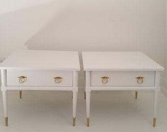 Sold.....2 mid Century Modern end tables,  white and gold painted vintage tables, painted furniture from NJ