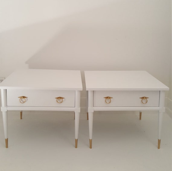 Sold 2 Mid Century Modern End Tables White And Gold