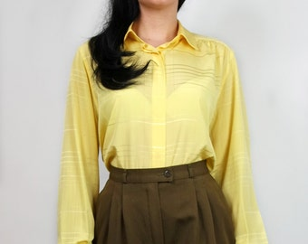 Vintage 80s Yellow blouse S M