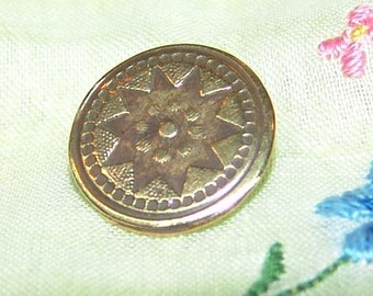 Sensational 18th Century Brass Button ~ Highly Decorated with Lots of Texture ~ Star Design ~