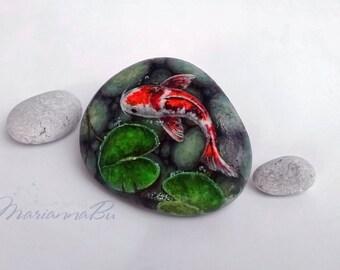 """Painted stones  Painted rocks """"Koi"""""""