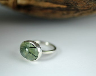 Green prehnite ring - size 4 US