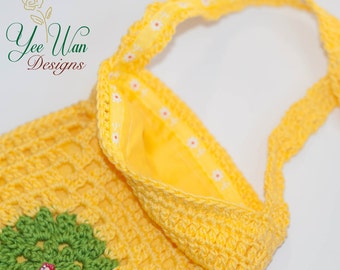 SALE Cell Phone Cross Body Handbag Purse Crochet Granny Square Lined Yellow Colorful
