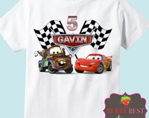 Cars Personalized Birthday Shirt - Lightning McQueen and Mater