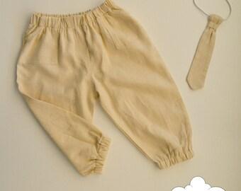 Baby Boy Set~ Beige Boy Pant~ Boy Tie~ linen pant~ stripes tie~ boy outfit~ baby boy gift~ baby boy toddler~ baby hipster~ baby 1st birthday