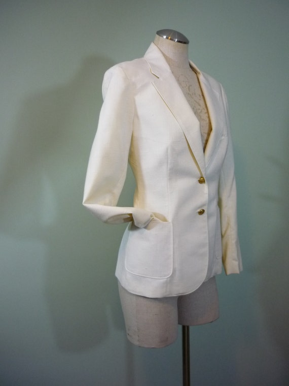 1970s-1980s Classic Tailored Cream Blazer / Gold Anchor Buttons / Peerless of Boston / Modern Size Medium M 10 to Large L 12