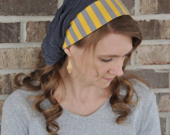 Women's Yellow Gray Stripe Headcovering, head scarf, Mitpachat head covering hair scarf, headscarf, bandana headband, half head tichel, veil