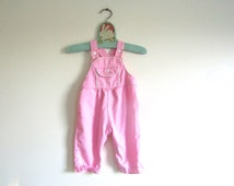 3-6 MOS - Vintage Baby Girls Pink Cotton Infant Overalls with White Details