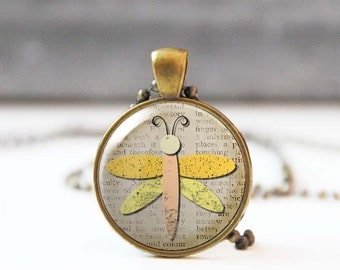 Yellow dragonfly necklace, Long charm necklace, Birthday gift, Unique animal jewelry, Cabochon necklace for women, Boho jewelry, 5021-10