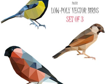 Vector illustration Low poly art Bird clip art Geometrical stock