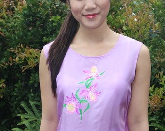 100% Silk - Sleeveless blouse with hand painting Orchid - Lilac