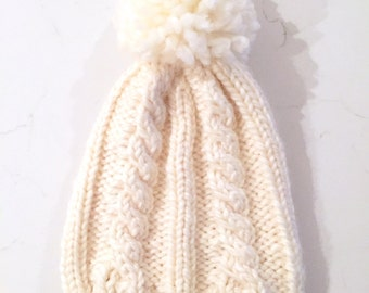 Adult Chunky Cable Knit Pom Toque Hat